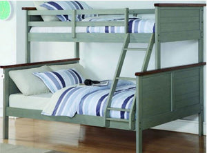 Donco Kids T/F Panel Bunk Bed Washed Denim B0317TFWD-Bunk Beds-HipBeds.com