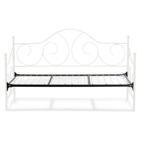 Leggett & Platt Caroline Metal Daybed w/ Sloping Back Panel & Link Spring, Antique White Finish, Twin-Daybeds-HipBeds.com