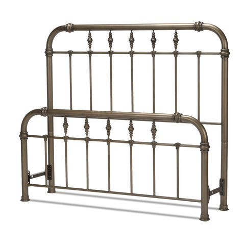 Leggett & Platt Vienna Bed w/ Metal Panels & Carved Finials, Aged Gold Finish, California King-Headboards & Footboards-HipBeds.com