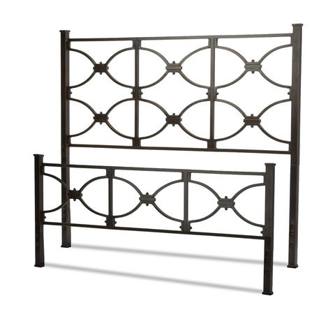 Leggett & Platt Marlo Bed w/ Metal Panels & Squared Finial Posts, Burnished Black Finish, King-Headboards & Footboards-HipBeds.com