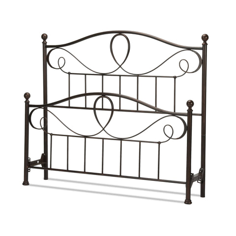 Leggett & Platt Sylvania Bed w/ Metal Curved Grill Design & Canopy Compatibility, French Roast Finish, King-Headboards & Footboards-HipBeds.com