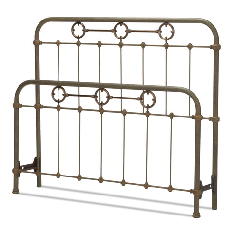 Leggett & Platt Madera Bed w/ Metal Panels & Brass Plated Designs, Rustic Green Finish, Queen-Headboards & Footboards-HipBeds.com