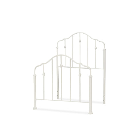 Leggett & Platt Lorna Kids Bed w/ Metal Duo Panels & Accented Spindles, Warm White Finish, Full-Headboards & Footboards-HipBeds.com