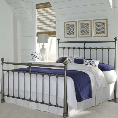 Leggett & Platt Kensington Metal Bed w/ Stately Posts, Vintage Silver Finish, King-Beds-HipBeds.com