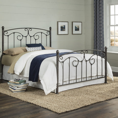 Leggett & Platt Hinsdale Metal Bed, Antiqued Pewter Finish, King-Beds-HipBeds.com
