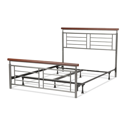Leggett & Platt Fontane Bed w/ Metal Geometric Panels & Rounded Cherry Top Rails, Silver Finish, King-Beds-HipBeds.com