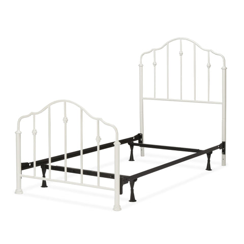 Leggett & Platt Lorna Complete Kids Bed w/ Metal Duo Panels & Accented Spindles, Warm White Finish, Twin-Beds-HipBeds.com