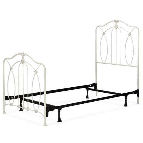 Leggett & Platt Kaylin Complete Kids Bed w/ Metal Duo Panels & Medallions Accents, Soft White Finish, Full-Beds-HipBeds.com