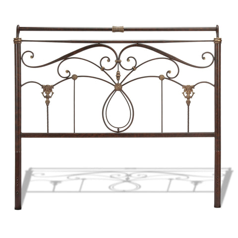 Leggett & Platt Lucinda Metal Headboard w/ Intricate Scrollwor, Marbled Russet Finish, Queen-Headboards & Footboards-HipBeds.com