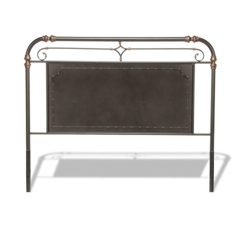Leggett & Platt Westchester Metal Headboard w/ Vintage Panel Design, Blackened Copper Finish, King-Headboards & Footboards-HipBeds.com