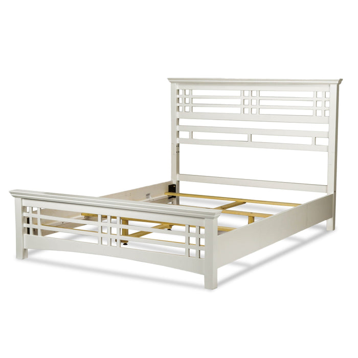 Leggett & Platt Avery Bed w/ Wood Frame & Mission Style Design, Cottage White Finish, Queen