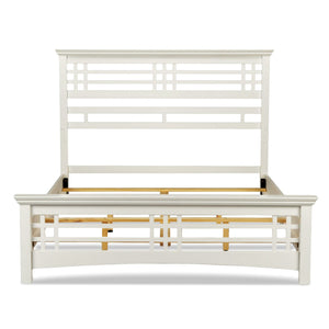 Leggett & Platt Avery Bed w/ Wood Frame & Mission Style Design, Cottage White Finish, California King-Beds-HipBeds.com