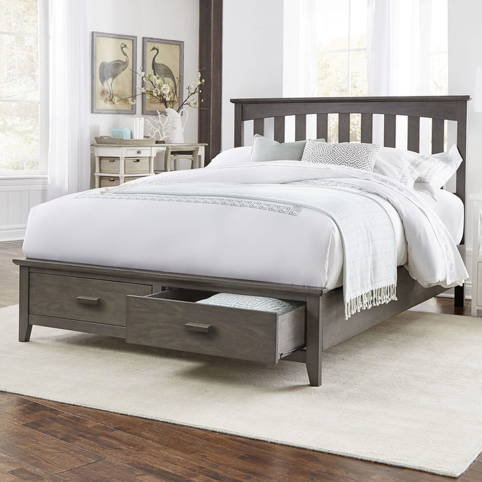 Leggett & Platt Hampton Storage Bed w/ Solid Wood Frame & and (2) Footboard Drawers, Beachwood Grey Finish, Twin