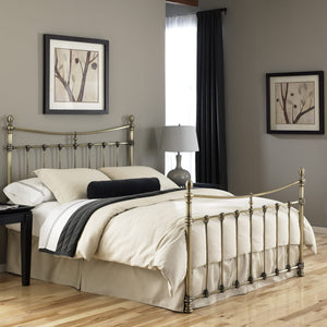 Leggett & Platt Leighton Bed w/ Metal Panels, Glazed Brass Finish, Queen-Headboards & Footboards-HipBeds.com