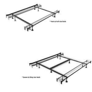 Leggett & Platt Kenton Metal Bed, Chrome & Black Nickel Finish, Queen-Beds-HipBeds.com
