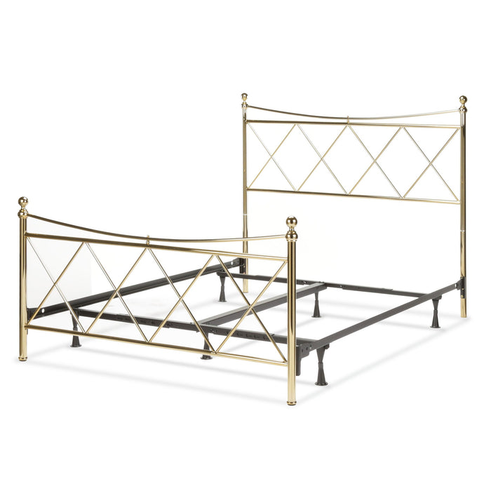 Leggett & Platt Lennox Bed w/ Metal Duo Panels, Classic Brass Finish, Queen