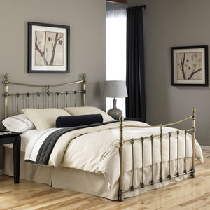 Leggett & Platt Leighton Bed w/ Metal Panels, Glazed Brass Finish, King-Beds-HipBeds.com
