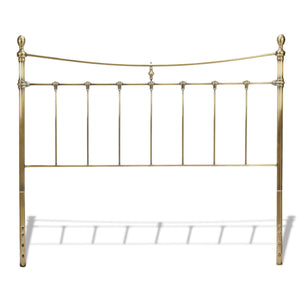 Leggett & Platt Leighton Metal Headboard w/ Rounded Posts, Glazed Brass Finish, Full-Headboards & Footboards-HipBeds.com