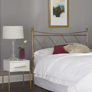 Leggett & Platt Lennox Metal Headboard w/ Diamond Pattern Design, Classic Brass Finish, Full-Headboards & Footboards-HipBeds.com