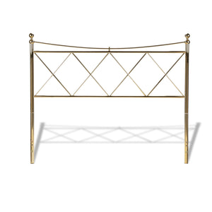 Leggett & Platt Lennox Metal Headboard w/ Diamond Pattern Design, Classic Brass Finish, King-Headboards & Footboards-HipBeds.com