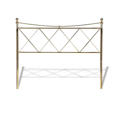 Leggett & Platt Lennox Metal Headboard w/ Diamond Pattern Design, Classic Brass Finish, California King-Headboards & Footboards-HipBeds.com