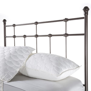 Leggett & Platt Dexter Bed w/ Decorative Metal Castings & Globe Finials, Brown, Full-Headboards & Footboards-HipBeds.com