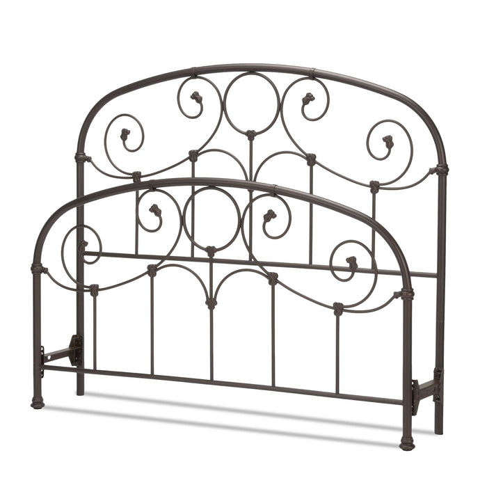 Leggett & Platt Grafton Bed w/ Metal Scrollwork Panels & Decorative Castings, Rusty Gold Finish, Queen