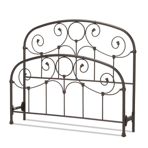 Leggett & Platt Grafton Bed w/ Metal Scrollwork Panels & Decorative Castings, Rusty Gold Finish, King-Headboards & Footboards-HipBeds.com