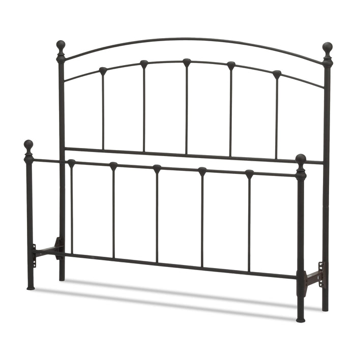 Leggett & Platt Sanford Bed w/ Metal Panels & Round Finial Posts, Matte Black Finish, Queen
