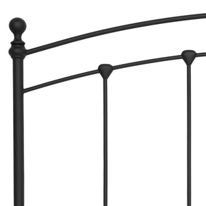 Leggett & Platt Sanford Bed w/ Metal Panels & Round Finial Posts, Matte Black Finish, Queen-Headboards & Footboards-HipBeds.com