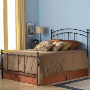 Leggett & Platt Sanford Bed w/ Metal Panels & Round Finial Posts, Matte Black Finish, California King-Headboards & Footboards-HipBeds.com