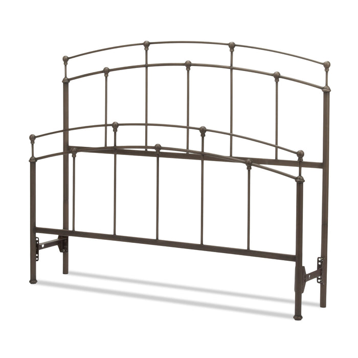 Leggett & Platt Fenton Bed w/ Metal Duo Panels & Globe Finials, Black Walnut Finish, Queen