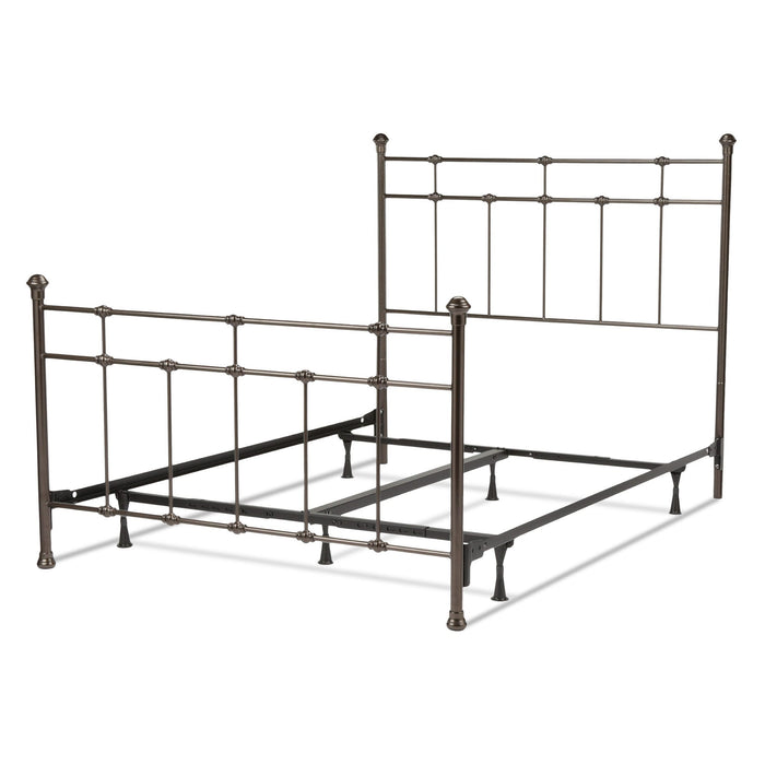Leggett & Platt Dexter Bed w/ Decorative Metal Castings & Globe Finials, Brown, Queen