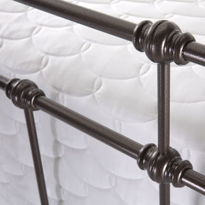 Leggett & Platt Dexter Bed w/ Decorative Metal Castings & Globe Finials, Brown, Queen-Beds-HipBeds.com
