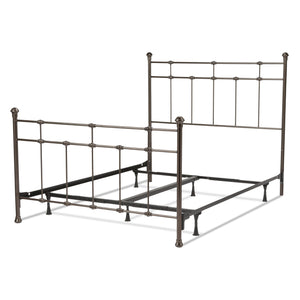 Leggett & Platt Dexter Bed w/ Decorative Metal Castings & Globe Finials, Brown, King-Beds-HipBeds.com