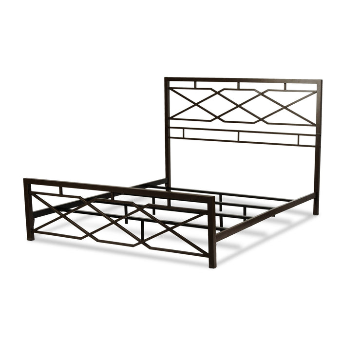 Leggett & Platt Alpine Snap Bed w/ Geometric Panel Design, Rustic Pewter Finish, Queen