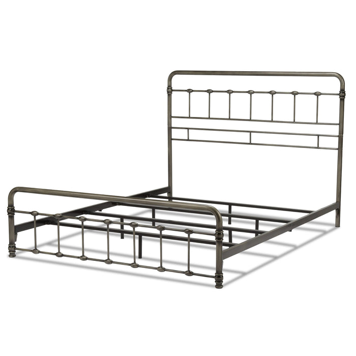 Leggett & Platt Fremont Snap Bed w/ Rounded Edge Panels, Weathered Nickel Finish, Queen