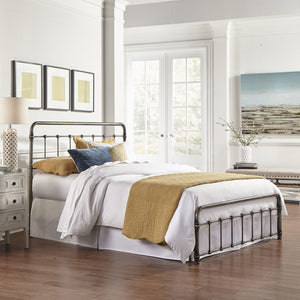 Leggett & Platt Fremont Snap Bed w/ Rounded Edge Panels, Weathered Nickel Finish, King-Beds-HipBeds.com