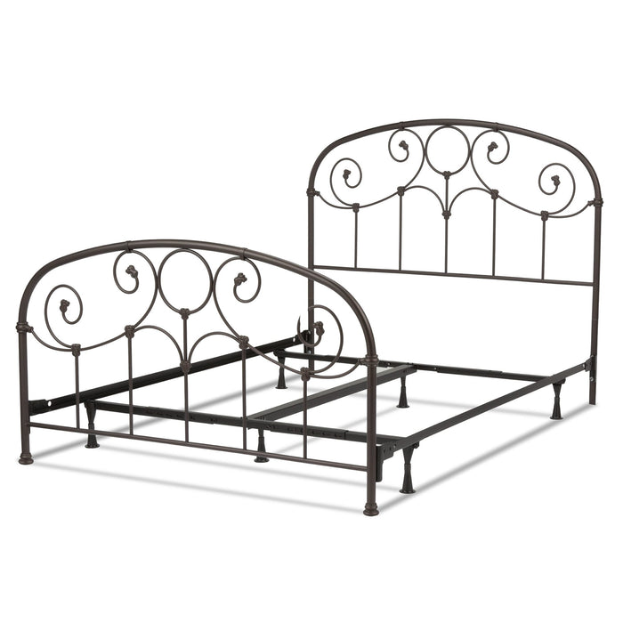 Leggett & Platt Grafton Bed w/ Metal Scrollwork Panels & Decorative Castings, Rusty Gold Finish, Twin