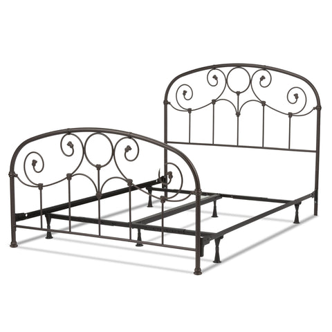 Leggett & Platt Grafton Bed w/ Metal Scrollwork Panels & Decorative Castings, Rusty Gold Finish, Full-Beds-HipBeds.com