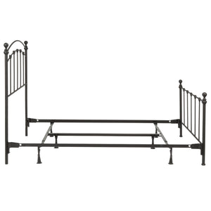 Leggett & Platt Sanford Bed w/ Metal Panels & Round Finial Posts, Matte Black Finish, Twin-Beds-HipBeds.com