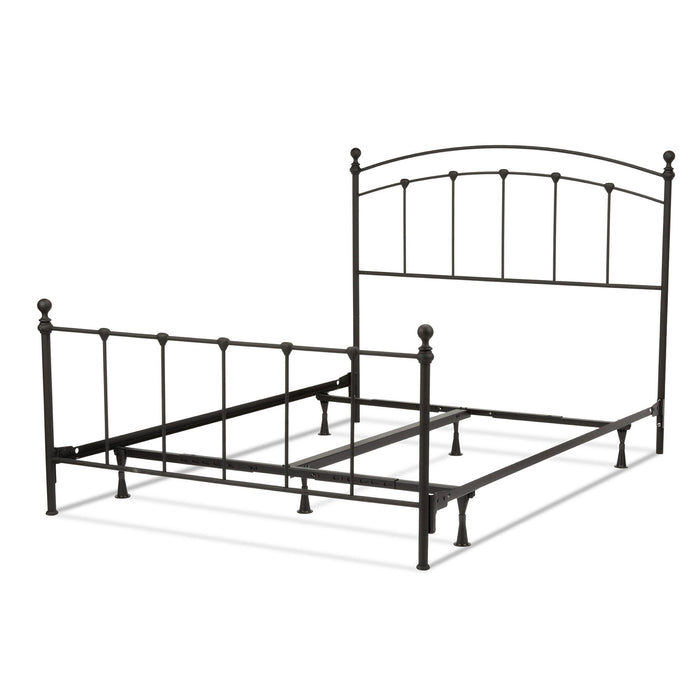 Leggett & Platt Sanford Bed w/ Metal Panels & Round Finial Posts, Matte Black Finish, Full