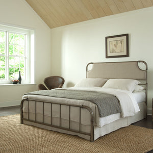 Leggett & Platt Dahlia Snap Bed w/ Upholstered Headboard, Aged Iron Finish, Full-Beds-HipBeds.com