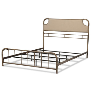 Leggett & Platt Dahlia Snap Bed w/ Upholstered Headboard, Aged Iron Finish, Queen-Beds-HipBeds.com