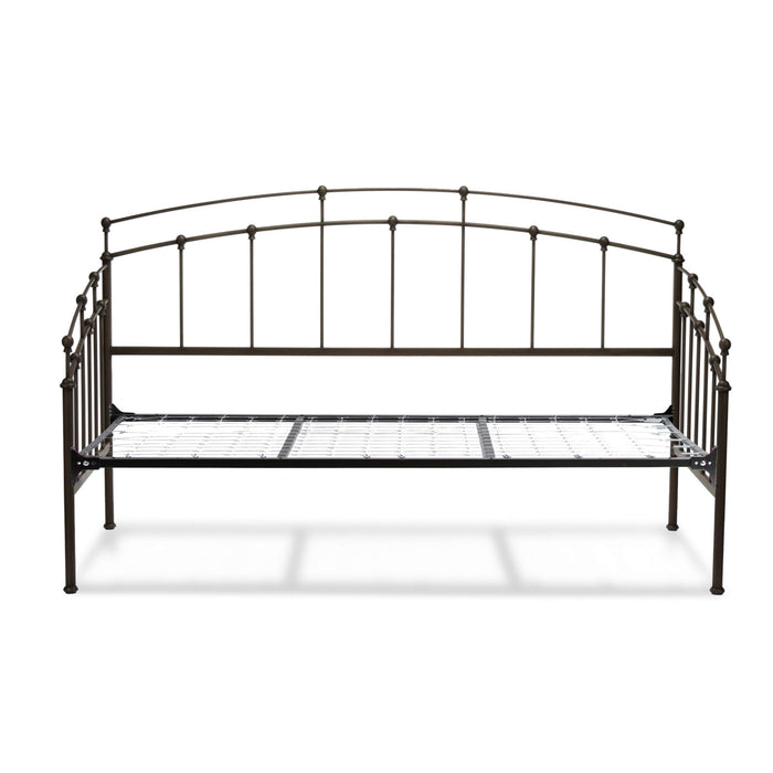 Leggett & Platt Fenton Metal Daybed w/ Spindle Panels & Link Spring, Black Walnut Finish, Twin