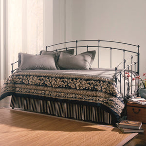 Leggett & Platt Fenton Metal Daybed w/ Spindle Panels & Link Spring, Black Walnut Finish, Twin-Daybeds-HipBeds.com