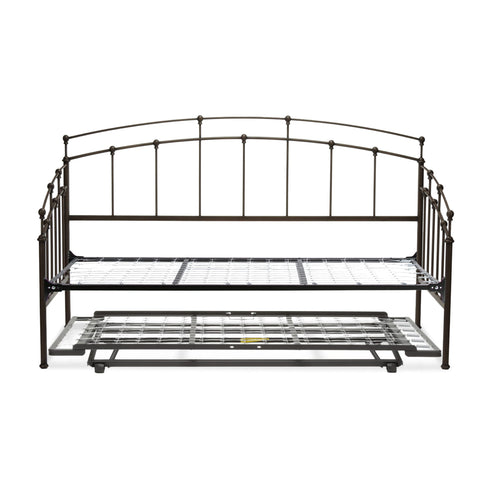 Leggett & Platt Fenton Metal Daybed w/ Link Spring & Trundle Bed Pop-Up Frame, Black Walnut Finish, Twin-Daybeds-HipBeds.com