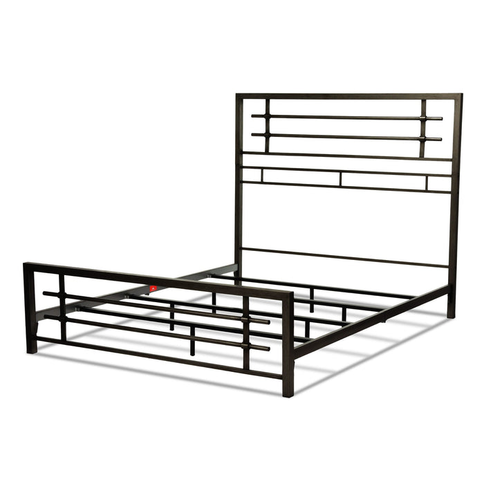 Leggett & Platt Colton Snap Bed w/ Metal Piping Design & Folding Side Rails, Burnished Black Finish, King