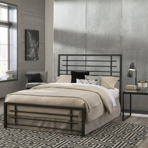 Leggett & Platt Colton Snap Bed w/ Metal Piping Design & Folding Side Rails, Burnished Black Finish, California King-Beds-HipBeds.com