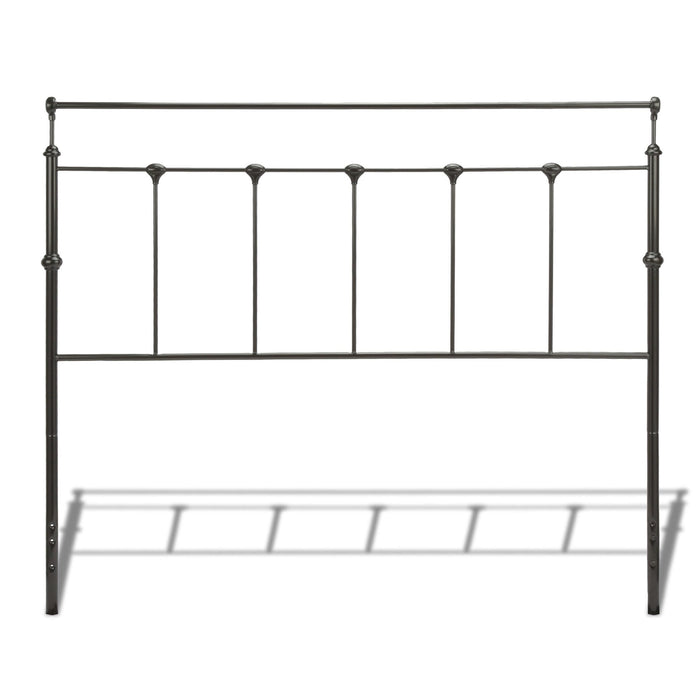 Leggett & Platt Winslow Metal Headboard w/ Rounded Posts & Aluminum Castings, Mahogany Gold Finish, California King